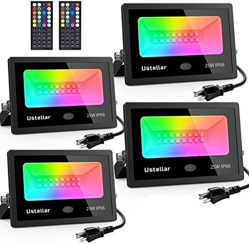 Ustellar 4 Pack 25W RGB LED Flood Lights Color Changing Indoor Outdoor Floodlights Dimmable product image