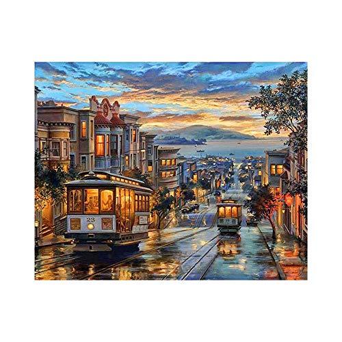 Gzjp Zestaw do malowania autobusów w stylu retro, kolor po numerze, ręcznie malowany obraz olejny do samodzielnego wykonania, płótno, akryl, dzieci początkujący, sztuka ścienna cyfrowy obraz do dekoracji wnętrz, 40 x 50 cm bez ramy