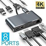 XDDIAS Type C Hub 8 en 1, Aluminium Adaptateur USB C avec HDMI 4K, VGA 1080P, Ethernet RJ45, Type C PD, 3 x USB 3.0, 3.5mm Audio, Compatible avec MacBook, Sumsung S8, Huawei et USB C Portables PC