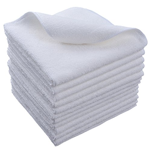 SINLAND Microfiber Cleaning Cloths Washcloth 12Inchx12Inch 12 Pack White