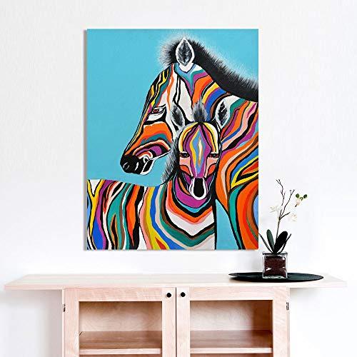 Sanzangtang muurkunst schilderwerk canvas druk dier olieverfschilderij zebra schilderij slaapkamer woonkamer decoratie zonder frame