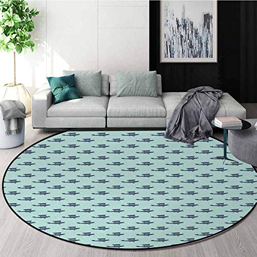 Review Of Vintage Airplane Rug Round Home Decor Area Rugs,Retro Style Propeller Airplane Pattern On ...