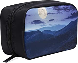 Night Forest With Trees On Blue Night Sky Portable Travel Makeup Cosmetic Bags Organizer Multifunction Case Small Toiletry Bags For Women And Men Brushes Case