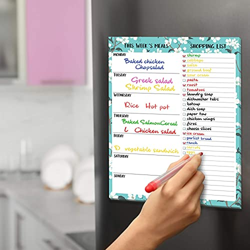 """Weekly Meal Planner - Magnetic Notepad for Fridge/Desk, Tear-Off Shopping List, 7"""" × 9"""" Grocery List, To Do List Pad to Plan Weekly Menu for Family - Floral"""