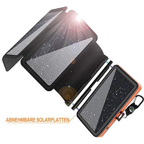 Powerbank Solar 25000mAh, F.Dorla Solar Ladegerät mit 4 abnehmbaren Solar Panels, 2 Eingänge und 2 Ausgänge, LED-Taschenlampe mit 3 Betriebsstufen, wasserdichte Solar Powerbank für iOS und Android