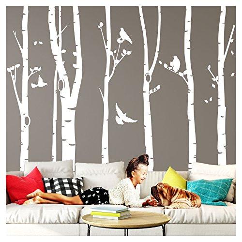 Wandaro Wandtattoo XXL Birkenstämme I weiß (BxH) 267 x 250 cm I Birke Vögel Bäume Blätter Tieren Flur Aufkleber Wohnzimmer Wandsticker Wandaufkleber W3327
