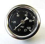 Mid-USA 100 PSI Oil Pressure Gauge 1/8' NPT Fitting Motorcycle (88004)