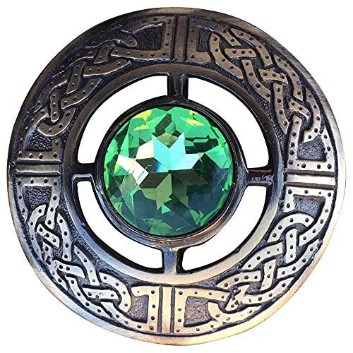 AAR Men's Kilt Brooch Pin Stones Scottish Fly Plaid Celtic Chrome Plated Norse Vintage Jewelry