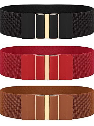 SATINIOR 3 Cinturones Anchos Elásticos de Mujer (Negro, rojo, marrón XL)
