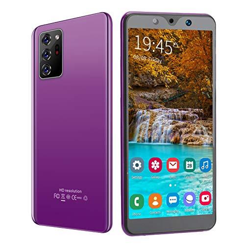 Teléfono móvil, 5.72 Pulgadas Desbloqueo de Huellas Dactilares en la Cara Tarjetas SIM Dobles Modo de Espera Note30 Plus Smartphone 512MB + 4GB, Cámara portátil(Púrpura)
