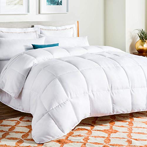 LINENSPA All-Season White Down Alternative Quilted Comforter - Corner Duvet Tabs - Hypoallergenic - Plush Microfiber Fill - Machine Washable - Duvet Insert or Stand-Alone Comforter - Oversized Queen