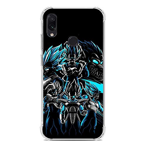 Cases for XIAOMI Redmi Note 7/7 Pro, Goku-Vegeta Saiyan-Prince Blue 7 Transparent Thin TPU Shockproof Silikon Coque Cover Phone Cases