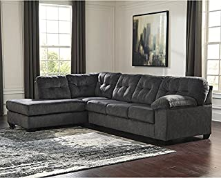 StarSun Depot Signature Design by Ashley Accrington 2-Piece Right Side Facing Sofa Sectional in Granite Microfiber 121