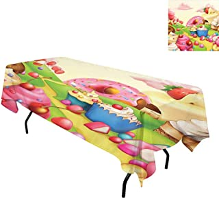 kangkaishi Modern,Table Cloths,Yummy Donuts Sweet Land Cupcakes Ice Cream Cotton Candy Clouds Kids Nursery Design,for Kitchen Dinning Tabletop Linen Decor,W60 x L84 Inch Multicolor