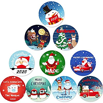Jetec Christmas 2020 Tree Hanging Round Decorations Personalized Christmas Ornament Decoration Creative Christmas Quarantine Hanging Pendant for Christmas Home Party Decor (20)