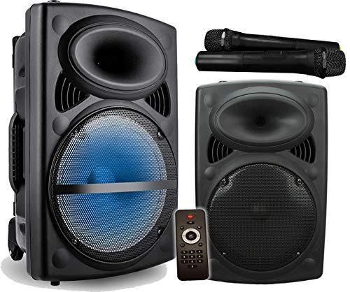 Vocal- Star Sistema de altavoces PA portátil con efecto de luz LED,  Bluetooth,  MP3,  12 pulgadas 300 W y 2 micrófonos inalámbricos