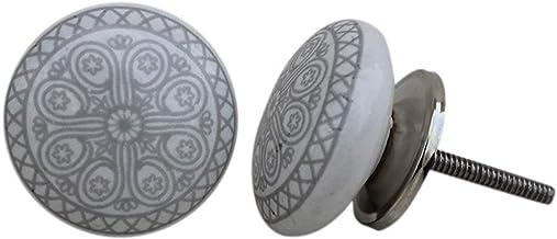 JSR Set van 12 stuks keramische & metalen grijze wiellade trekt en knoppen handgemaakte designer zilveren finis