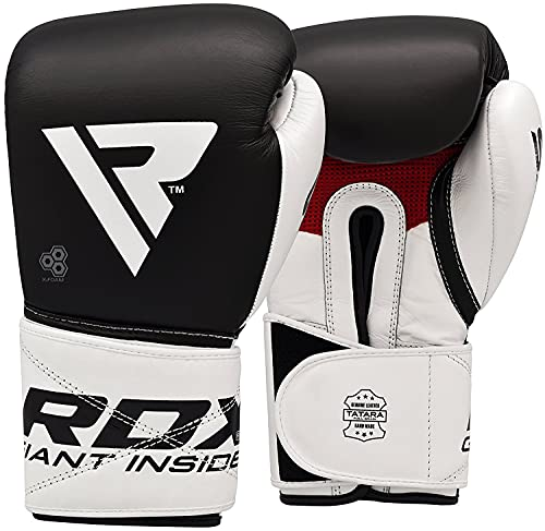 RDX Boxing Gloves for Training Muay Thai Cowhide Leather Mitts for Kickboxing, Fighting Sparring Great for Heavy Punch Bag, Double End Speed Ball, Grappling Dummy and Focus Pads Punching