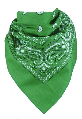 Harrys-Collection Unisex Bandana Bindetuch 100% Baumwolle (1 er 6 er oder 12 er Pack), Farbe:grün