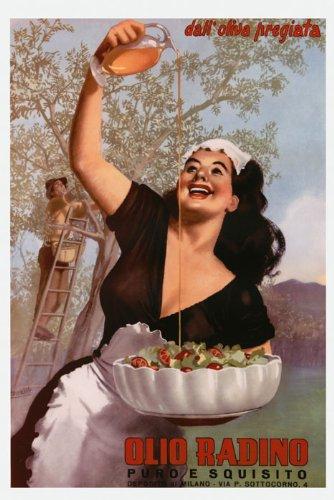 "Italian Girl Olive Oil Tree Radino Milan Italy Kitchen Restaurant Art Salad Food 16"" X 22"" Image Size Vintage Poster Reproduction"