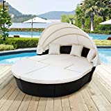 Merax Outdoor Patio Round Daybed Furniture with Retractable Canopy and Coffee Table, Wicker Rattan Sofa Set Waterproof Cushions Backyard Lawn Garden Pool Porch (Beige+Black)
