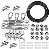 String Lights Hanging Kit for Outdoor, Globe String Lights Suspension Set, Includes 164Ft Stainless Steel (304) Suspension Ropes with Black Vinyl-Coated, for Hanging String Light, Clothes, Decorating