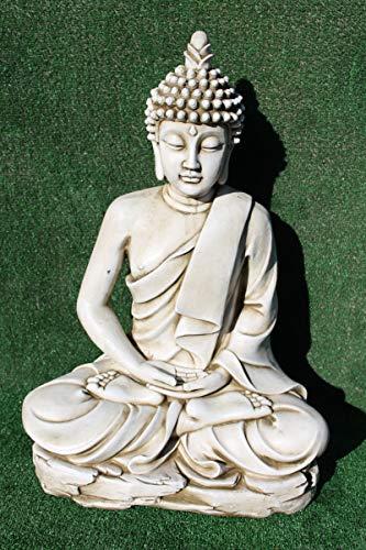 AnaParra Estatua Buda delAmor Decorativa para Jardín o Exterior Hecho de hormigón-Piedra Artificial | Figura Buda Grande de 73cm., Color Ceniza
