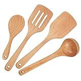 YFWOOD Utensilios De Cocina Madera 4 Piezas para Cocinar Cucharas De Madera y Cubiertos Espátulas Ideal para sartenes, Utensilios De Cocina y Wok
