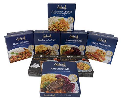 Kräftig-dektig Paket - verschiedene Fertiggerichte für die Mikrowelle / Wasserbad - haltbare Lebensmittel - keine Versandkosten - Südwind Lebensmittel
