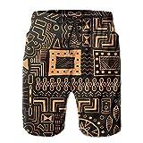 ZQHRS Arte Tribal Africano Hombres Novedad Secado Rápido Bañador con Cordón Playa Pantalones Cortos de Playa Trajes de Baño Talla L