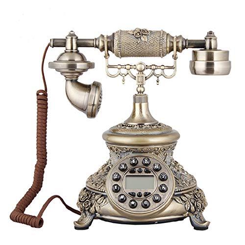 YYCHJU Teléfono con Cable Teléfono con Cable Bronce Antiguo Teléfono para el hogar y la Oficina Teléfonos fijos Decorativos para el Regalo Teléfono de Moda Antiguo clásico