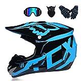 GG-helmet Casque et Lunettes de Motocross (5 pièces) - Noir et Bleu - Casque de...