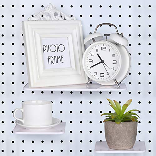 3 Pieces Pegboard Shelf Kits Pegboard Storage Pegboard Accessories Organizer for Crafts Organizing, Wall Decor Storage, Ornaments Display (White)