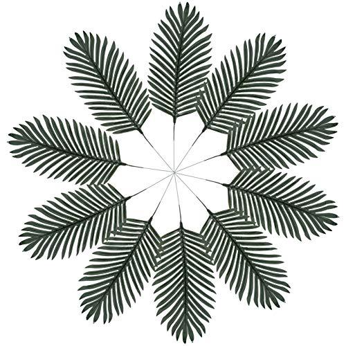 PRETYZOOM 1 Set 10 stks Faux Areca Palm Bladeren Kunstmatige Areca Palm Bladeren Stengels Foto Props voor DIY Bruiloft Hawaiian Luau Party Decoraties (Donkergroen)
