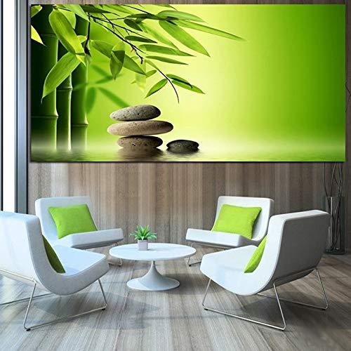 Imprimir zen stone bambú agua feng shui pintura al óleo lienzo paisaje moderno mural sala de estar sofá sin marco decoración imagen Z60 70x100cm