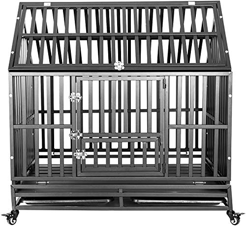Heavy Duty Dog Cage Crate, Pet Kennel Strong Metal for Training Large Dogs, Easy to Assemble, with Prevent Escape Lock & Four Lockable Wheels, Removable Tray for Indoor Outdoor