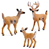 RESTCLOUD Deer Figurines Cake Toppers, Deer Toys Figure, Small Woodland Animals Set of 3