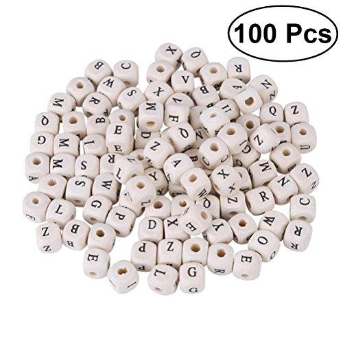 OUNONA 100pcs Holz Buchstabenperlen f¨¹r DIY Armband oder Halskette Schmuckherstellung