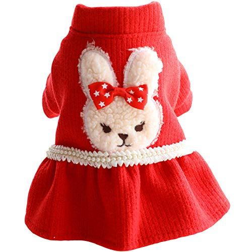 B/H Invierno Cálido Chaqueta Perro,Ropa para Perros, Vestido Rojo de otoño e Invierno, Princesa Linda perrita Mediana