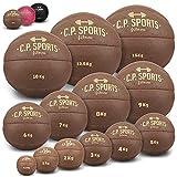 C.P. SPORTS Medizinball aus hochwertigem Kunstleder - Fitness Ball, Trainingsball, Gewichtsball, Slamball, Wallball, Gewichtsbälle für individuelles Training - Gewicht: 3 KG - Farbe: Braun