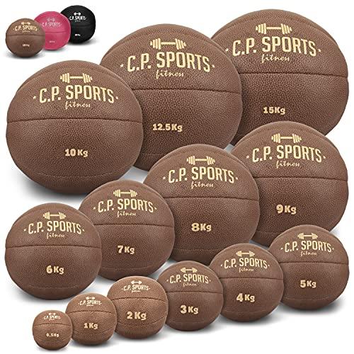 C.P. SPORTS Medizinball aus hochwertigem Kunstleder - Fitness Ball, Trainingsball, Gewichtsball, Slamball, Wallball, Gewichtsbälle für individuelles Training - Gewicht: 5 KG - Farbe: Braun