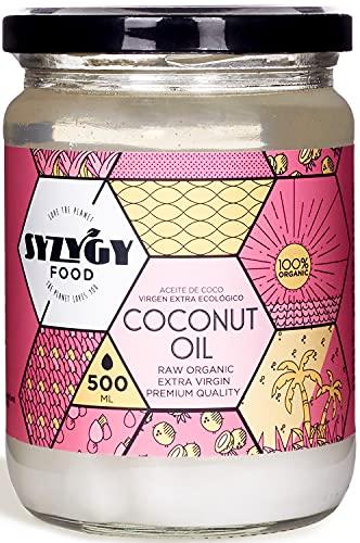 SYZYGY FOOD | Aceite de Coco Virgen Extra Ecológico Prensado en Frío (500ml) | Sin Aromas Químicos Añadidos - No Blanqueado Artificialmente - Sin Refinar | Uso Estético, Cocina y Masajes | Bio