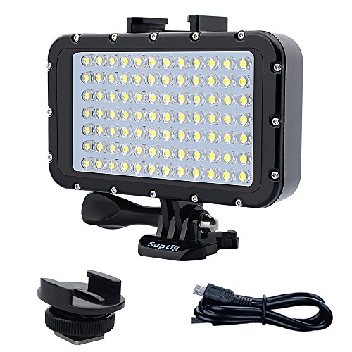 Suptig Luces subacuáticas Luz de Buceo 84 LED de Alta Potencia Regulable LED Impermeable Luz de Video Impermeable 164 pies (50 m) Compatible For Gopro Canon Nikon Panasonic Sony Cámaras SLR Samsung