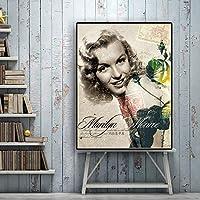 キャンバスペインティング ヴィンテージ映画女優マリリンモンローポスターとプリントキャンバスに絵画スカンジナビアクアドロス壁アートリビングルームの写真 50x75cm