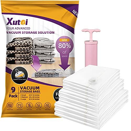 XUTAI Vacuum Storage Bags - 9 Packs Space Saver Bags Vacuum Seal Bags (3 Large, 3 Medium, 3 Small ) with Pump, 80% More Storage! Large Vacuum Bags for Clothes, Comforters, Blanket, Bedding