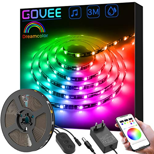 Dreamcolor Tiras LED RGB 3M, Govee Tiras Luces 5050 SMD Digital, IC Incorporada con APP, LED Iluminación Multicolor Impermeable, Cinta Tira Led Flexible para Navidad, Habitación, Jardín, Bar, Fiesta