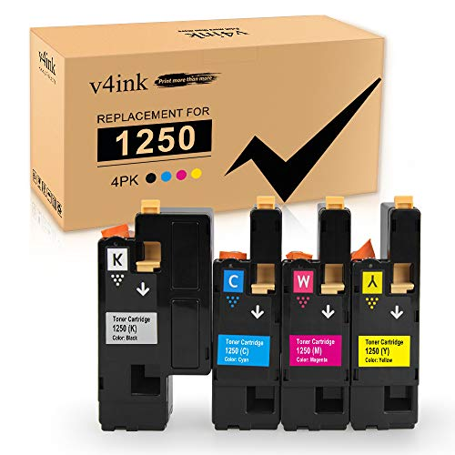 V4INK Compatible Toner Cartridge Replacement for Dell 1250 (KCMY, 4-Pack), for use in Dell 1250c Dell 1350cnw Dell 1355cn 1355cnw c1760nw c1765nf c1765nfw Printer