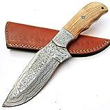 PAL 2000 SGMT-9382 - Cuchillo (acero de damasco, mango de madera de olivo, 25 cm, con vaina de piel)