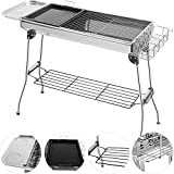 Grandma Shark Portable BBQ Grill With Storage Shelf, Folding Charcoal Grill Oven Dismountable Cooking Grid for Outdoor Garden Camping BBQ for 5-8 People