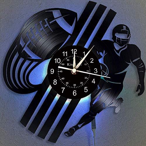 YHMJ Wanduhr Aus Vinyl Schallplattenuhr,Handgemachte Karikatur Das American Football-Thema Rekord Wanduhren,LED Nachtlichter 7 Farben leuchtende Uhr,kreative Geschenkauswahl für Freunde,mit Licht